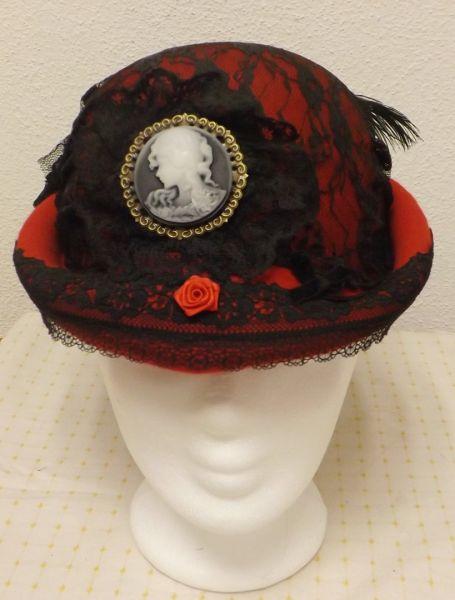Damen Old Style Hut rot/schwarz